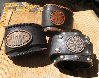 Norse protection -  leather cuff - made to order