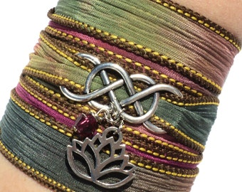 Infinity Silk Wrap Bracelet Yoga Jewelry Lotus New Beginnings Namaste Eternity Love Unique Gift For Her Mothers Day Under 50 Item A36