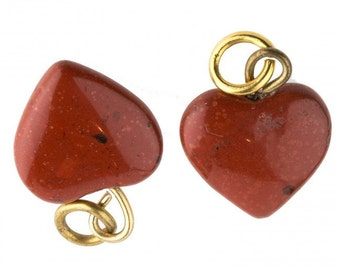 Vintage red jasper carved heart charm with bail, 10mm. Pkg of 2. b4-jas220(e)