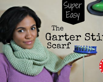 Loom Knit PATTERNS Scarf Beginner Easy with Step by Step Video Tutorial by LoomaHat | Garter Stitch