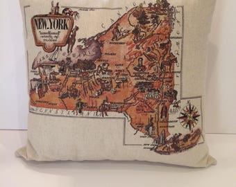 New York State Linen Map Pillow