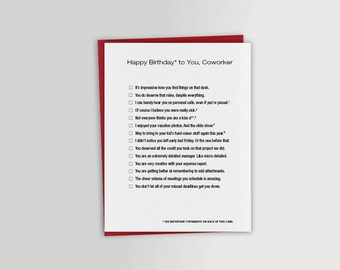 Funny Coworker Birthday Card - Co-worker Funny Birthday Card - Coworker Gift - Coworker Gag Gift
