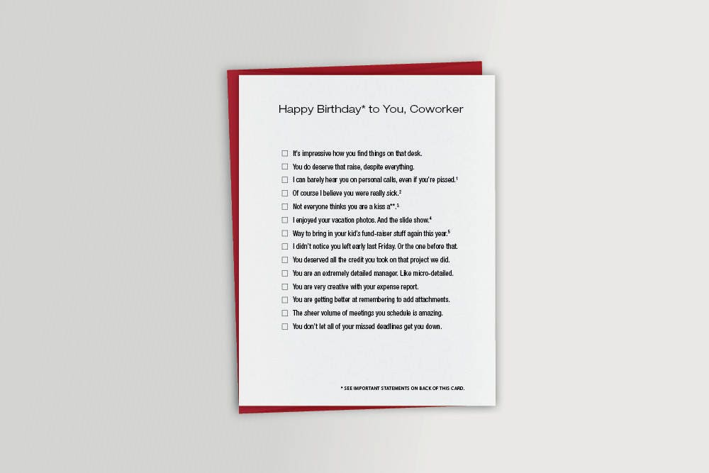 Funny coworker birthday card co worker funny birthday card zoom bookmarktalkfo Gallery