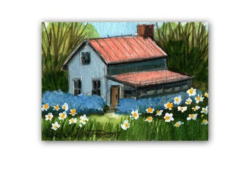 Pretty Blue House Daisies Baby Nursery llmartin Original ACEO Grandma Miniature Watercolor New Mom Free Shipping USA Child Children
