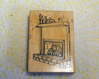 Art Impressions Wood Mounted Rubber Stamp Fireplace