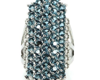 7.35ctw London Blue Topaz Sterling Silver Ring 7.0