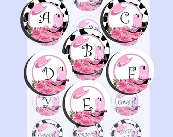 Cowgirl alphabeth A to Z - 1 INCH bottle-cap images, Cowgirl 1 inch Rodeo PRINTABLE images - Instant Download images