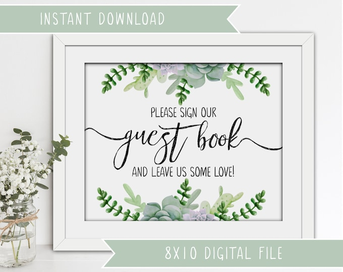 Printable Wedding Guest Book Sign - Succulents