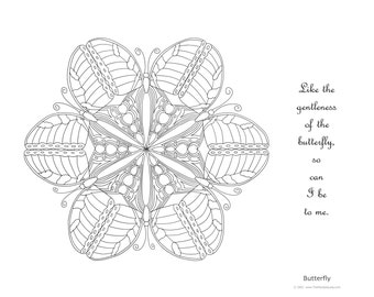 Mandala to Color: Butterfly - 11x8.5 - PDF VERSION w/message