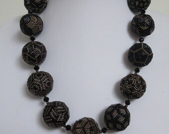 Temari Beaded Beads Necklace. Bead woven Jewelry.