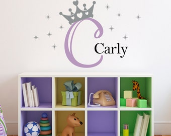 Personalized Princess Crown Decal Set - Initial Name Girl Wall Decal - Crown Wall Art - Medium