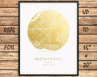 "Montréal City 16""x20"" Map Gold Print, Real Gold Foil Print, Montréal Circle Map, Montréal City Print, Montréal Gift, Canada, GoldenGraphy"