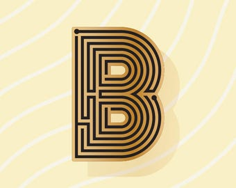 Labyrinth Letters - B - Enamel Pin