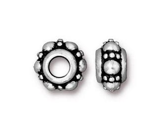 Large Hole Beads - TierraCast Turkish Euro Large Hole Beads - Antiqued Silver (TC/5756-12) - 10.5x6mm with 4mm hole - Qty. 4