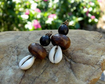 Cowrie Shell and Batik Bone Boho Earrings