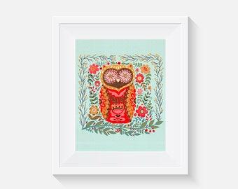 EtchArt Hidden Forest Archival Giclee Art Print 3 (Owl)