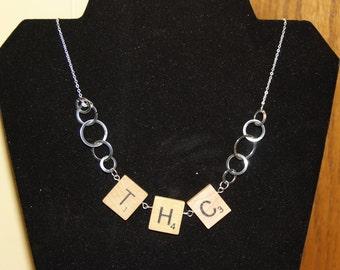 Handmade Scrabble THC Silver detail hoop Necklace