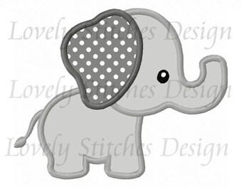 Cute Animal Elephant Applique Machine Embroidery Design NO:0539