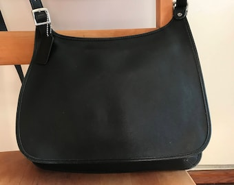 Coach Black Leather Messenger Cross Body Bag