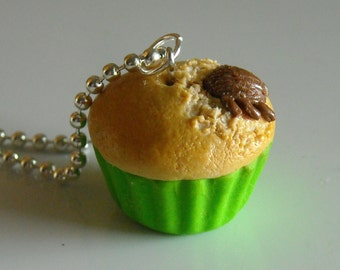 Cupcake Charm Necklace With A Surprise, Miniature Food Jewelry, Polymer clay Food