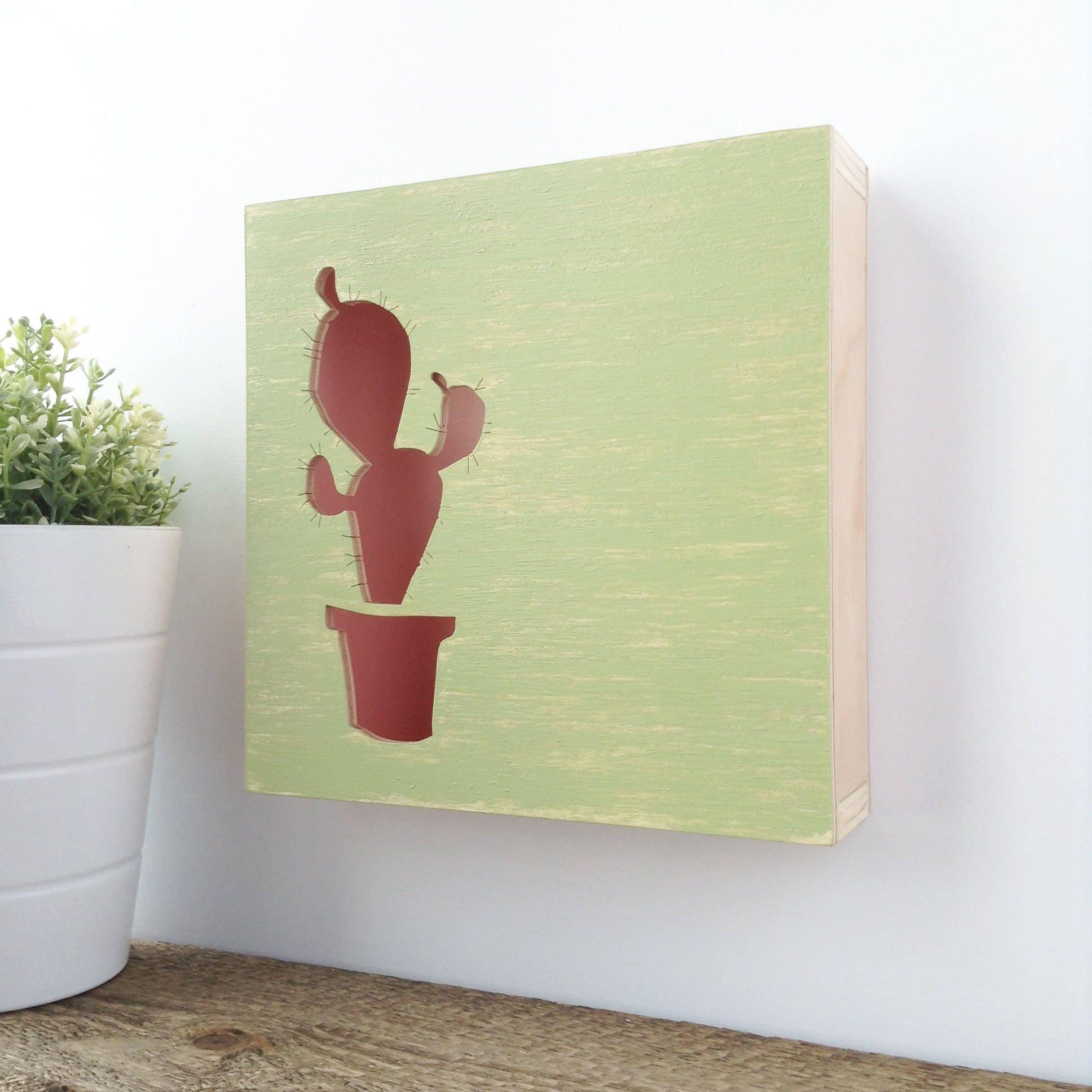 Cactus decor pink cactus cactus wall art succulent art