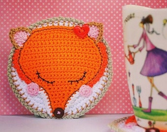 Crochet pattern - fox coaster / autumn decoration / kitchen table / digital tutorial / pdf