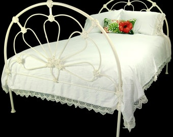 Antique Cast Iron Bed Full Double Shabby Chic, antique iron bed, cast iron bed, antique wrought iron, antique metal bed, antique steel bed