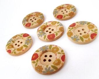 Bouton de bois avec motif de fleur multicolor de 3cm - ensemble de 6 boutons en bois naturel