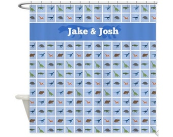DINOSAURS TILED Personalized Kids' Shower Curtain - Kids' Bathroom Decor; Kids' Shower Curtain