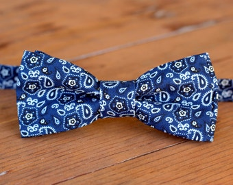Boys Bow Tie - boys cotton bow tie - baby toddler bow tie - boys blue paisley tie - bandanna bow tie - navy blue white tie - rustic wedding