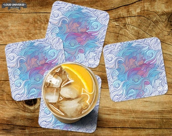 Coaster set of 4, drink coaster, table top decor, decorative coasters, gift set, wood coaster, coffee table, coaster set, housewarming gift