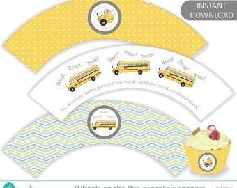 Yellow Wheels on the Bus printable cupcake wrappers, birthday party printables, American school bus, Digital Instant Download - CW011
