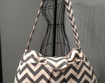 Large Hobo Diaper Bag - Grey Chevron Print