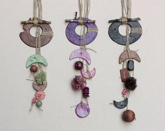 Long boho necklace, mixed media tribal jewelry, brown, purple, black, OOAK