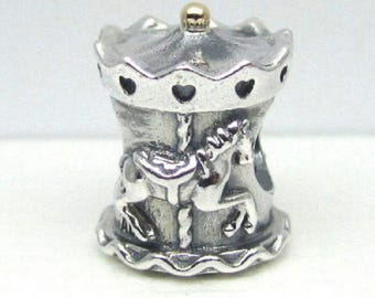 CAROUSEL MERRYGO ROUND Charm / New / Threaded / Sterlig Silver s925 / With 14k Gold Tip / Fully Stamped.