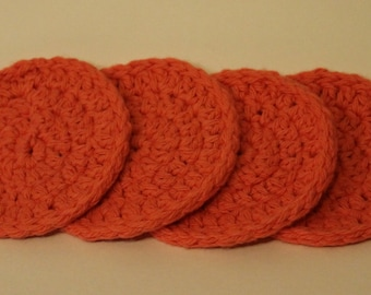 Handmade Crocheted Coral Coasters - Set of 4