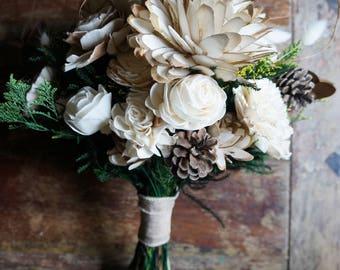 Enchanted Forest Sola Flower Bouquet // Wood Flower Bouquet, Keepsake Wood Flower Wedding Bouquet, Bridal Bouquet