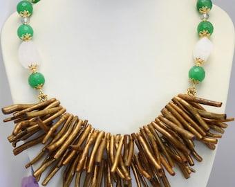 Golden Sponge Coral Sticks & Face Green Jade Necklace