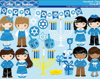 Happy Hanukkah Celebrations, Printable Hanukkah Clipart , Hanukkah Dreidel Menorah Digital Clipart Chanukah Invitation