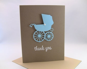 Set of 10 3-D Handmade Baby Boy Thank You Cards, Baby Shower Thank You Cards, Carriage with Elegant Pearl, Embossed, Customize Any Color