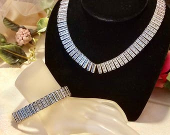 Beveled Rhinestones Encased Rhodium Necklace & Bracelet Vintage Retro 1950's | Demi Parure Set | Lovely Condition
