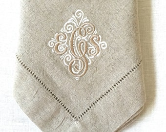 Monogram Embroidered Linen Napkins / Cloth Napkins/   Personalized Dinner Napkins/ Fine Linens/ Wedding Gift/  Mother's Day Gift