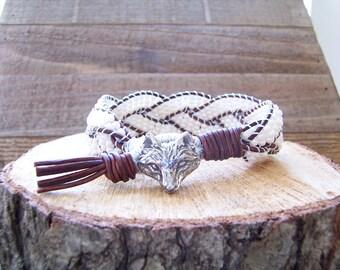 Arctic Fox Beaded Braided Leather Wrap Cuff Bracelet, Beaded Leather Cuff, Arctic Fox Bracelet, Arctic Fox Jewelry, Leather Jewelry