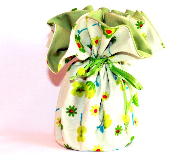 FLORAL Fabric Jewelry Organizer ~ Pouch ~ Storage Case ~ Bag ~ Tote - Bell Art Designs ~ Large JBLG0096