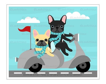 412D French Bullddog Prints - Two French Bulldogs in Vespa Sidecar Scooter Wall Art - Dog Decor - French Bulldog Portrait - Vespa Art Prints