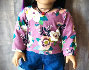 Floral Pullover Shirt for 18 Inch Dolls - Soft Knit Tee Shirt - Sweatshirt - Pajama Top - Purple