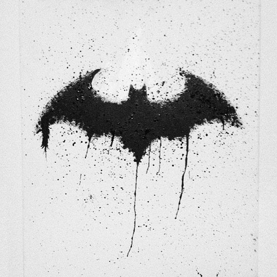 Items Similar To Splatter Art Bat Symbol 16x20 Acrylic On Canvas
