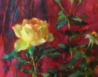 Yellow Rose, Original Oil Painting, One of a kind