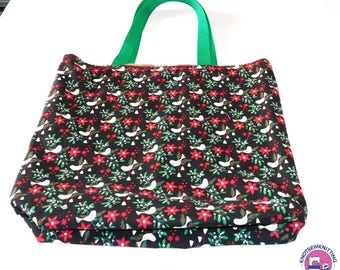 Holiday Tote Bag Dove Cat Holly Shopping Gift Project Grocery Reusable ReversibleChristmas