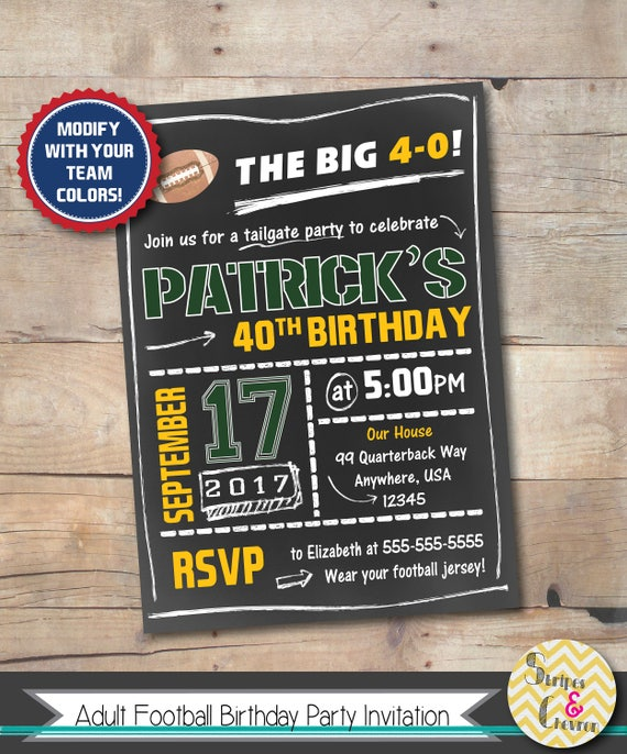 Mens birthday invitation football party invite 40th stopboris Image collections